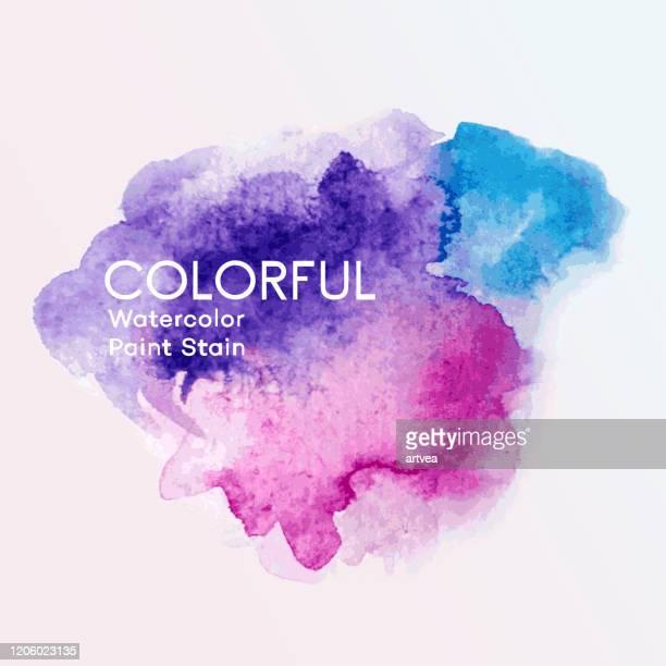 aquarell farbe flecken - wasserfarbe stock-grafiken, -clipart, -cartoons und -symbole