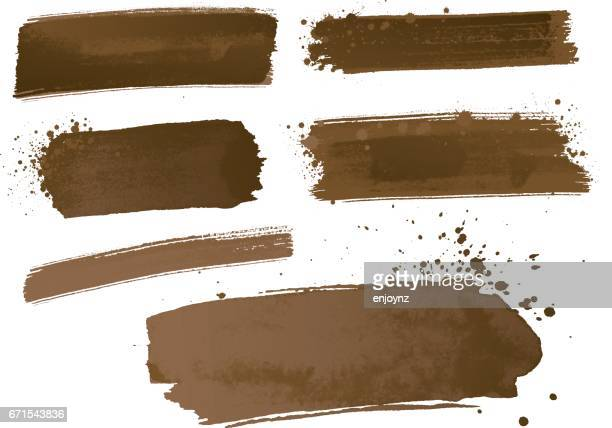 watercolor paint strokes - brown stock illustrations