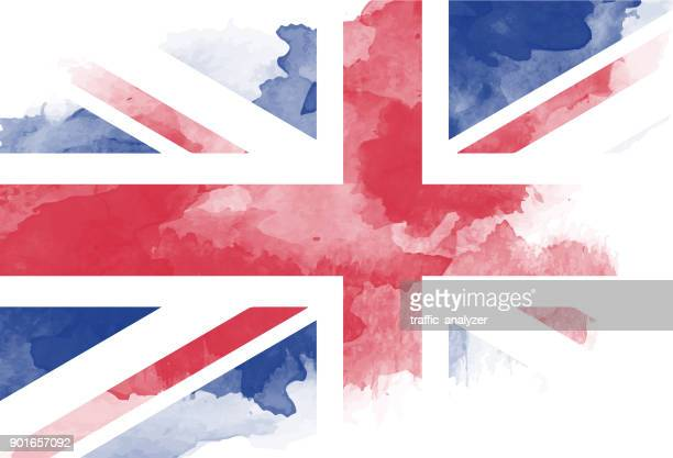 watercolor painted flag - british culture stock illustrations