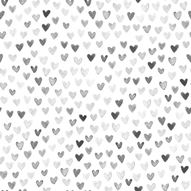 watercolor painted uneven imperfect monochromatic hearts isolated on white paper background in vector - seamless pattern design - heart shape stock illustrations