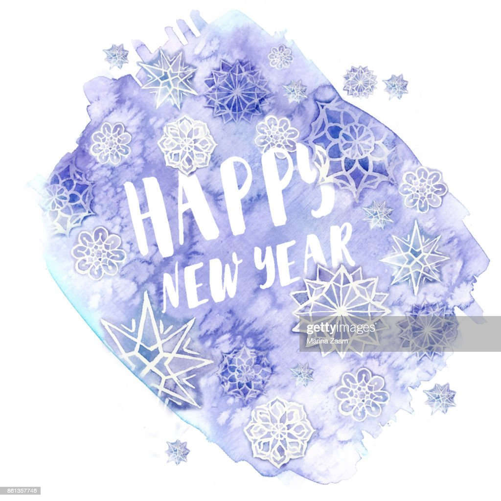 watercolor painting of watercolor blurred colors of lilac flowers in the form of ice with snowflakes for the new year and Christmas with the inscription 'Happy New Year', for decor and design of postc