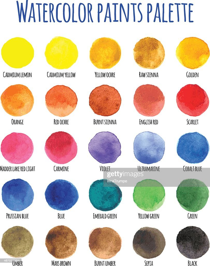 Watercolor paints palette with twenty five colors