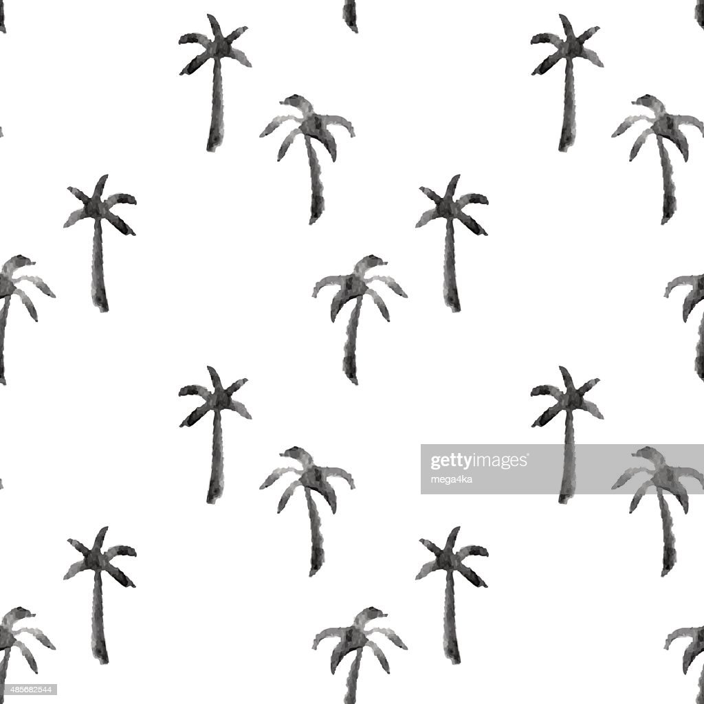watercolor palms seamless pattern, black and white