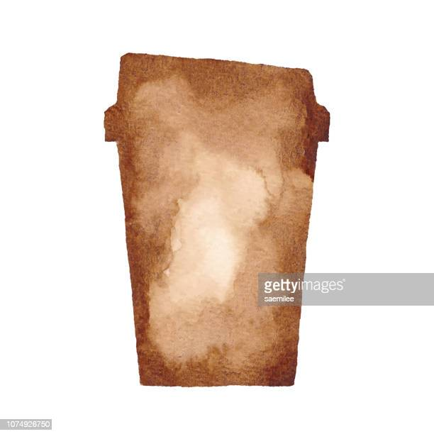 watercolor paper cup - brown stock illustrations