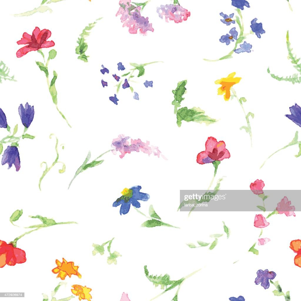 Watercolor pattern with wildflowers
