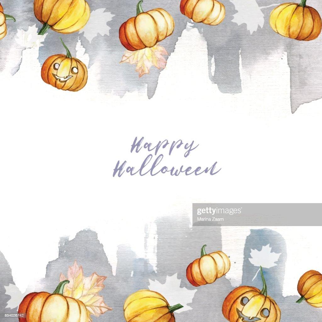 Halloween Thema.Aquarel Afbeelding In Een Frame Thema Halloween Pompoenen