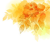 A watercolor picture of a yellow and orange tree branch