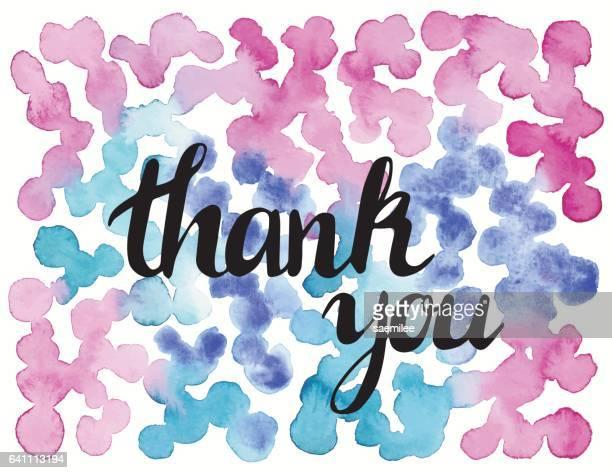 ilustraciones, imágenes clip art, dibujos animados e iconos de stock de puntos de color rosas y azules acuarela - gracias