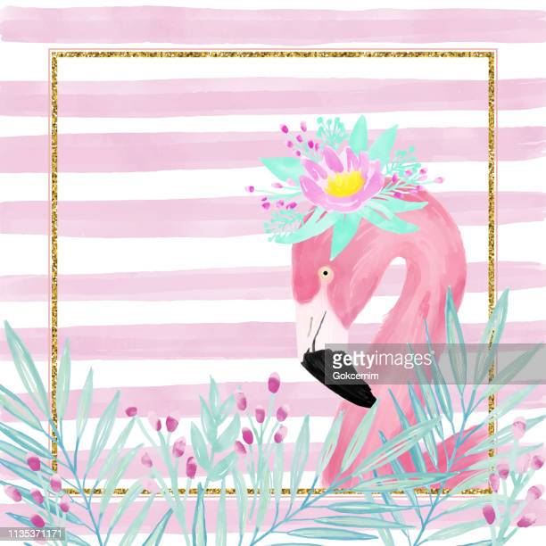 watercolor pink flamingo wearing a fresh spring flower crown, portrait, side view. tropical exotic bird background, tropical summer concept, design element. glitter frame with flamingo greeting card. - flamingo stock illustrations, clip art, cartoons, & icons