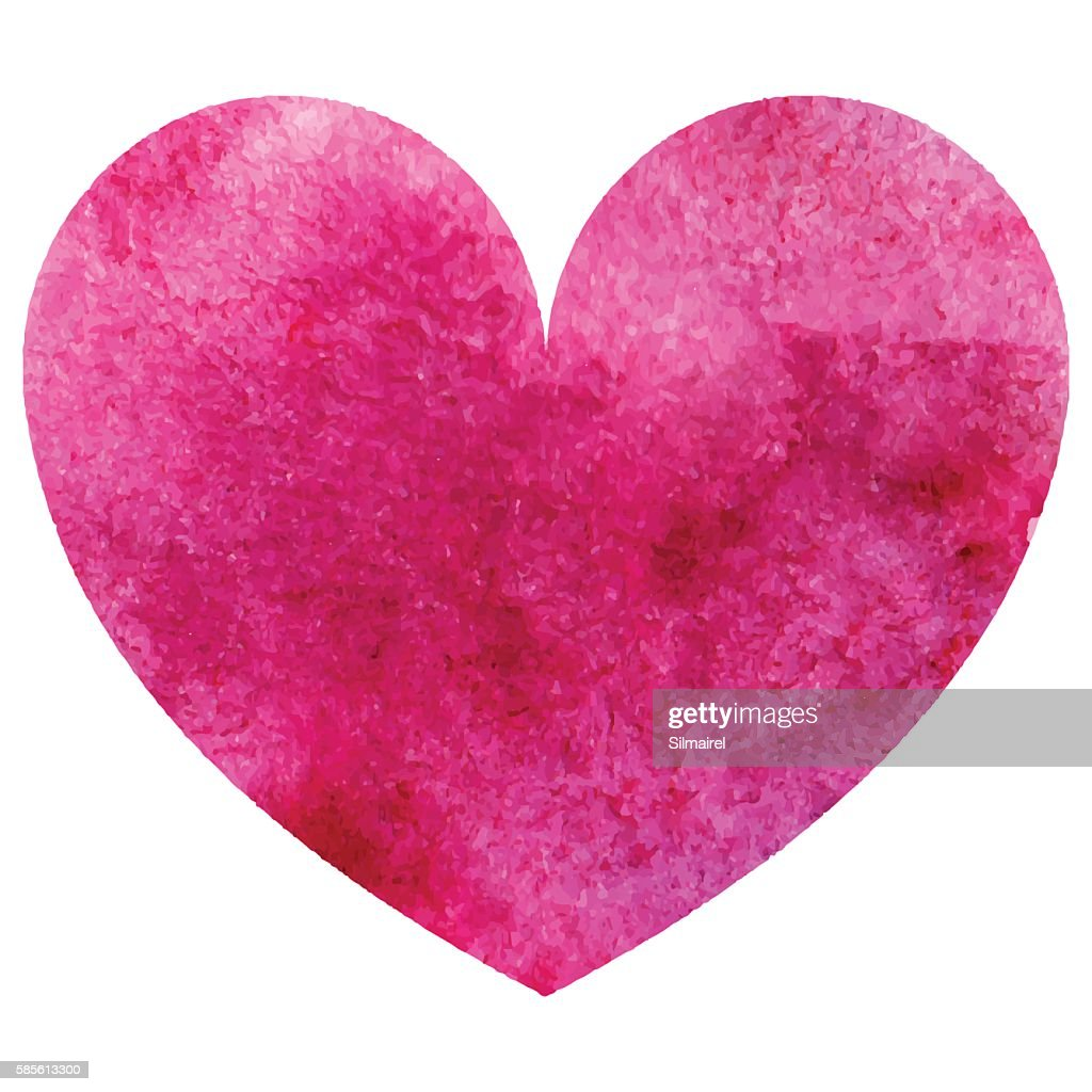 Watercolor pink heart love symbol isolated vector