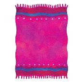 Watercolor pink towel, carpet with tassels
