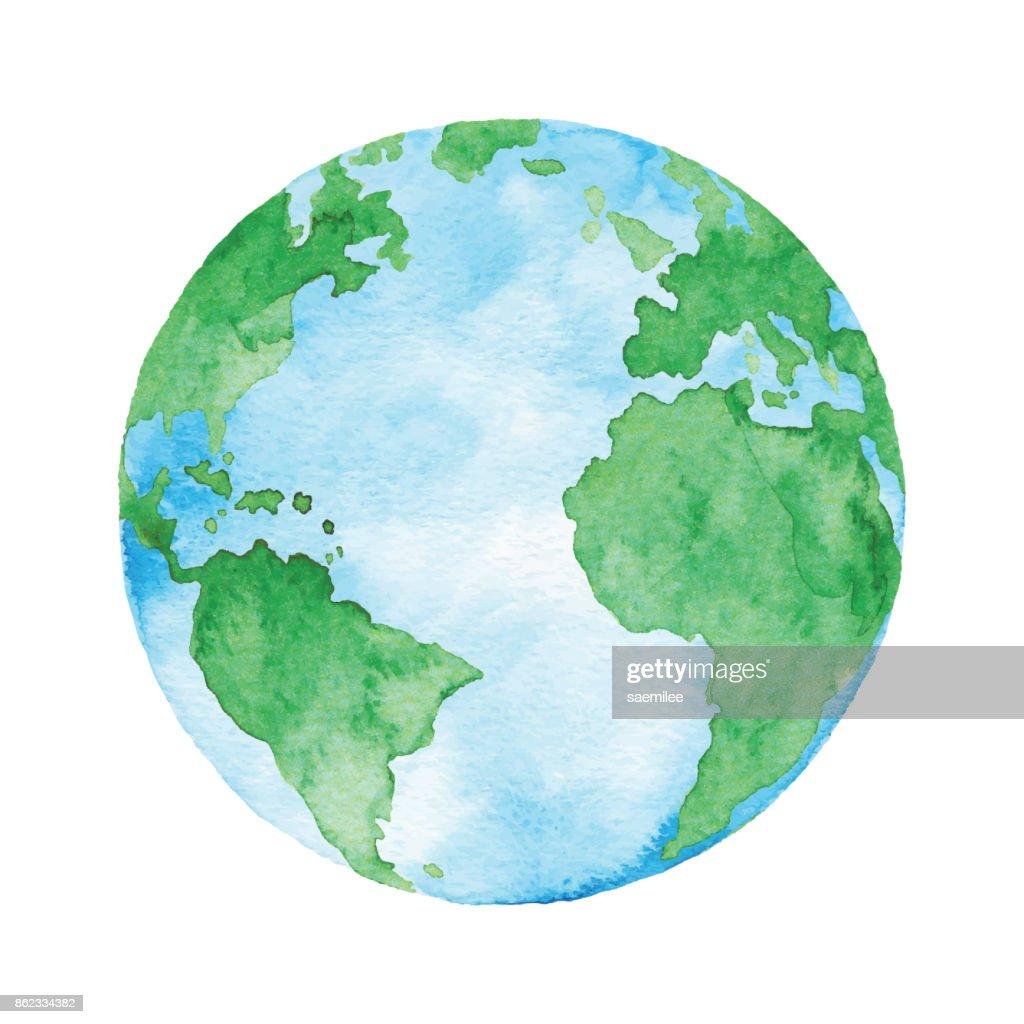 Watercolor Planet Earth