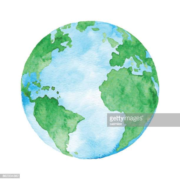 watercolor planet earth - planet earth stock illustrations