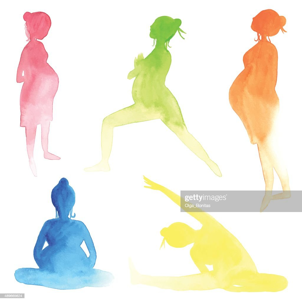 Watercolor pregnant women