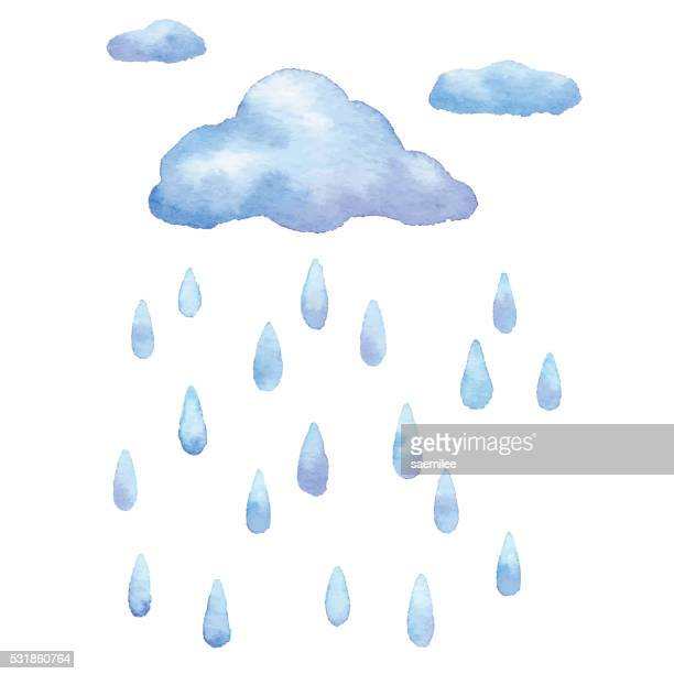 ilustrações, clipart, desenhos animados e ícones de chuva em aquarela - cloudscape