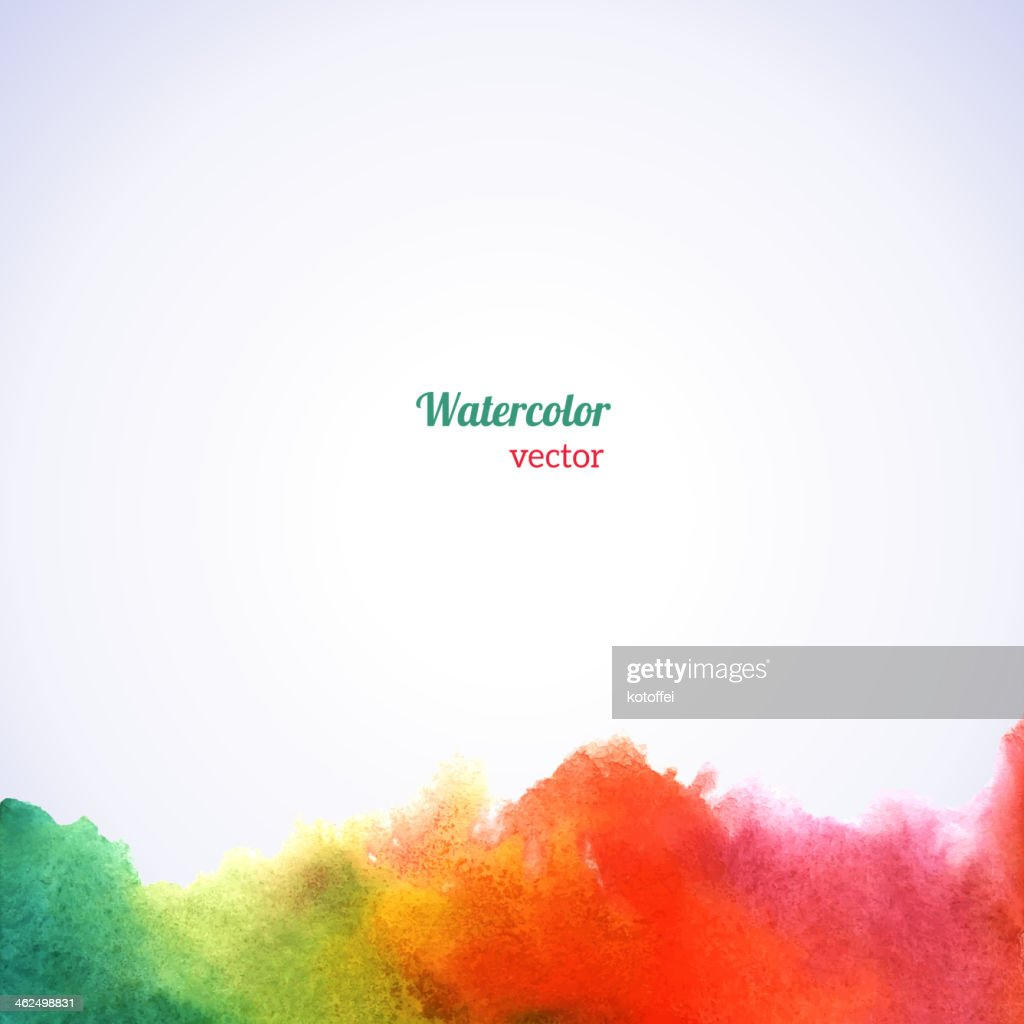 Watercolor rainbow border.