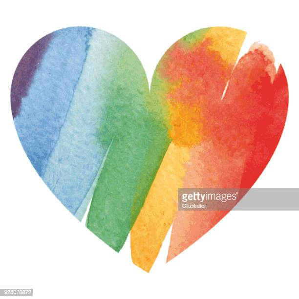 Watercolor rainbow colored heart
