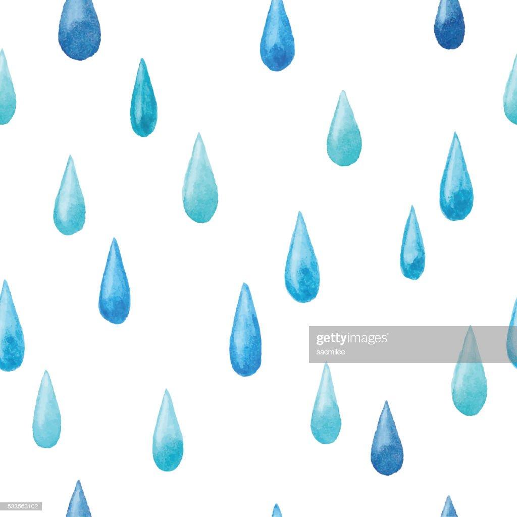Watercolor Raindrop Seamless Pattern