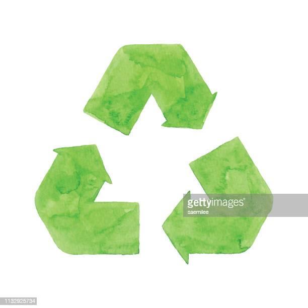 wasserfarbe recycling symbol grün - recyclingsymbol stock-grafiken, -clipart, -cartoons und -symbole