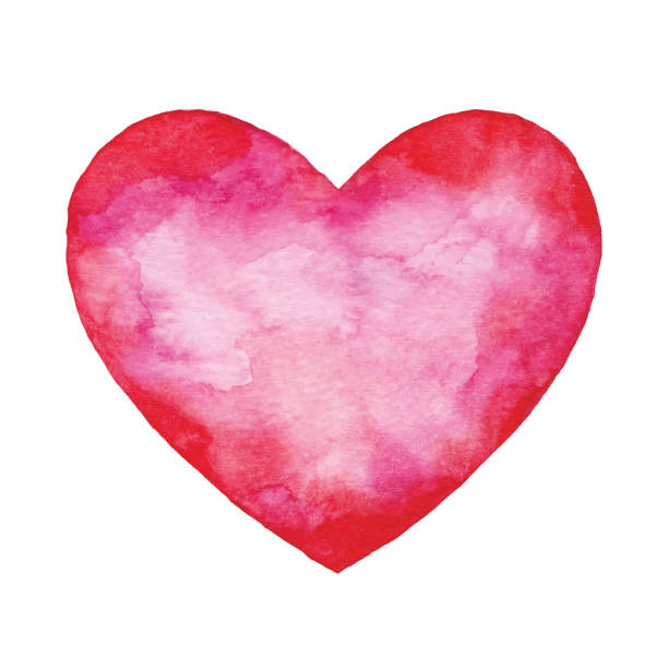 watercolor red abstract heart - heart shape stock illustrations