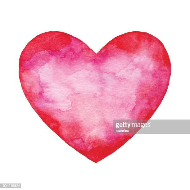 watercolor red abstract heart - valentine's day holiday stock illustrations