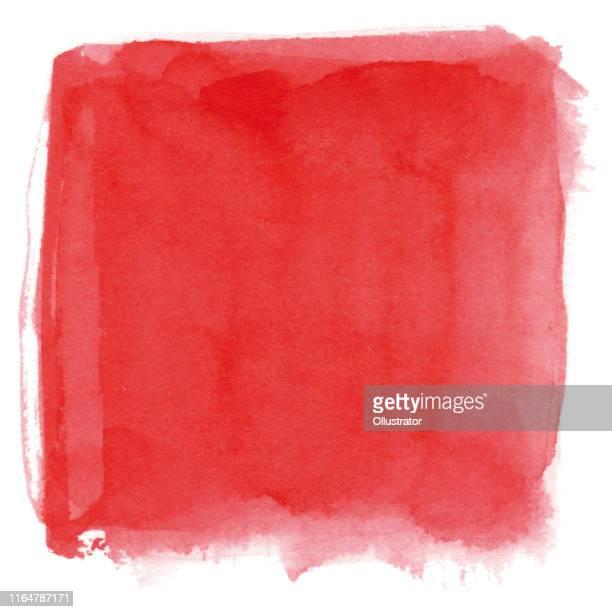 ilustrações, clipart, desenhos animados e ícones de fundo do vermelho da aguarela - square