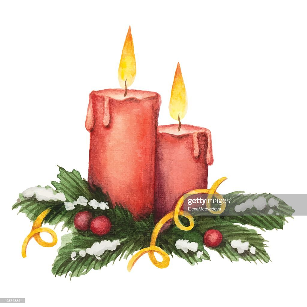 Watercolor red candle and fir branches with berries
