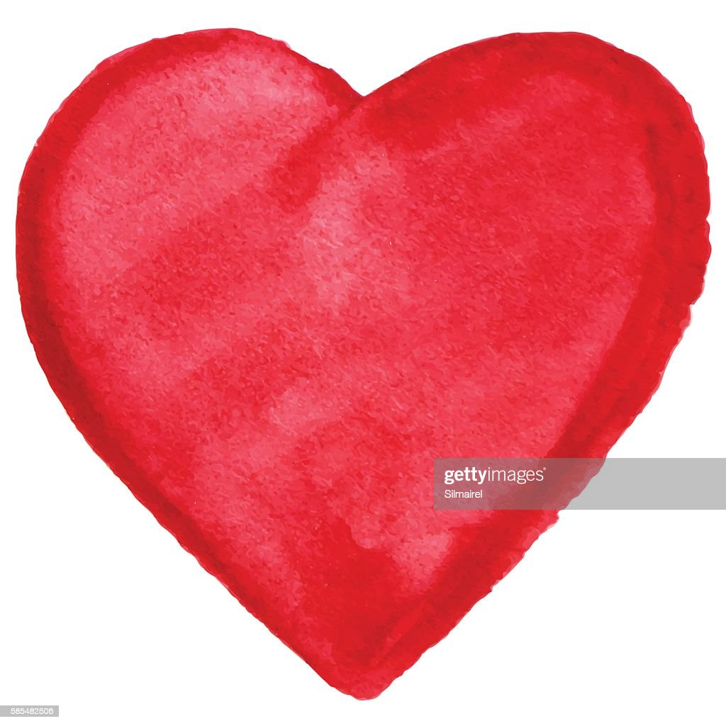 Watercolor red heart love symbol icon isolated vector