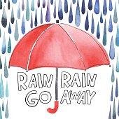 Watercolor red umbrella under rain maid in vector