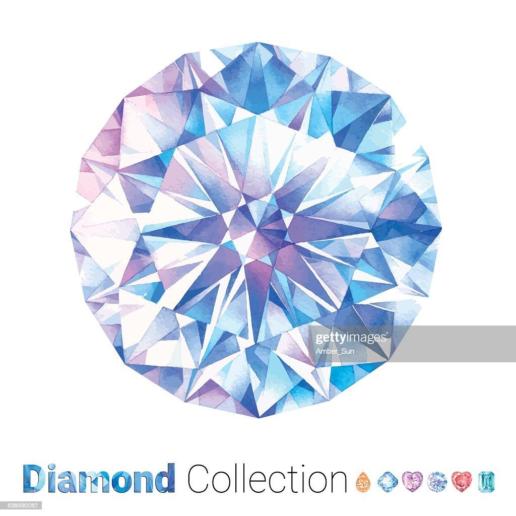 Watercolor Round Diamond