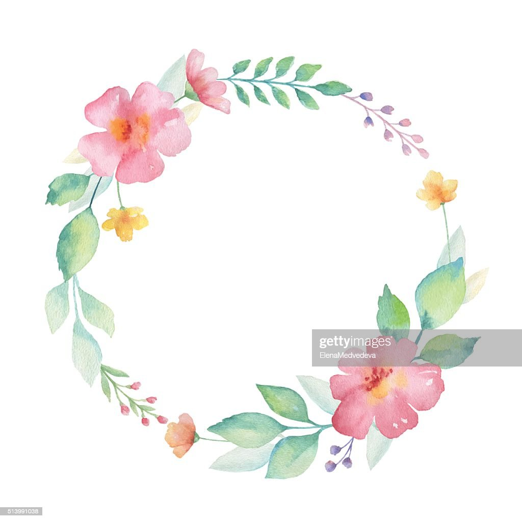 Watercolor round frame of flowers.