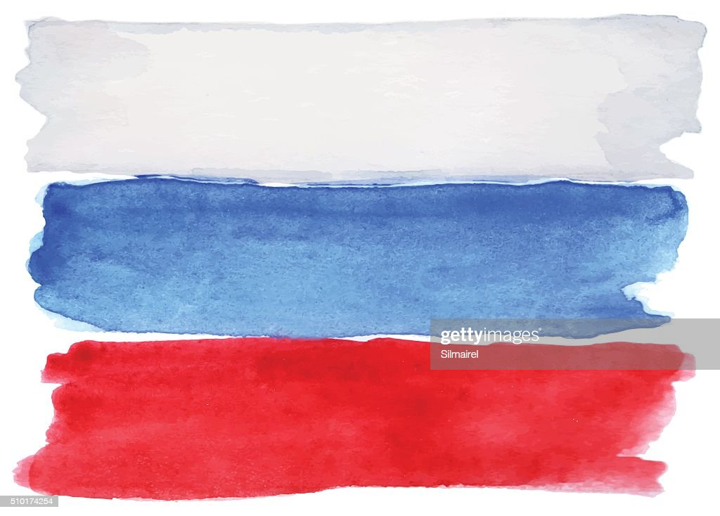 Watercolor Russia Russian flag 3 three color vector isolated