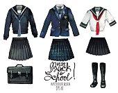 Watercolor school uniform set in japanese style