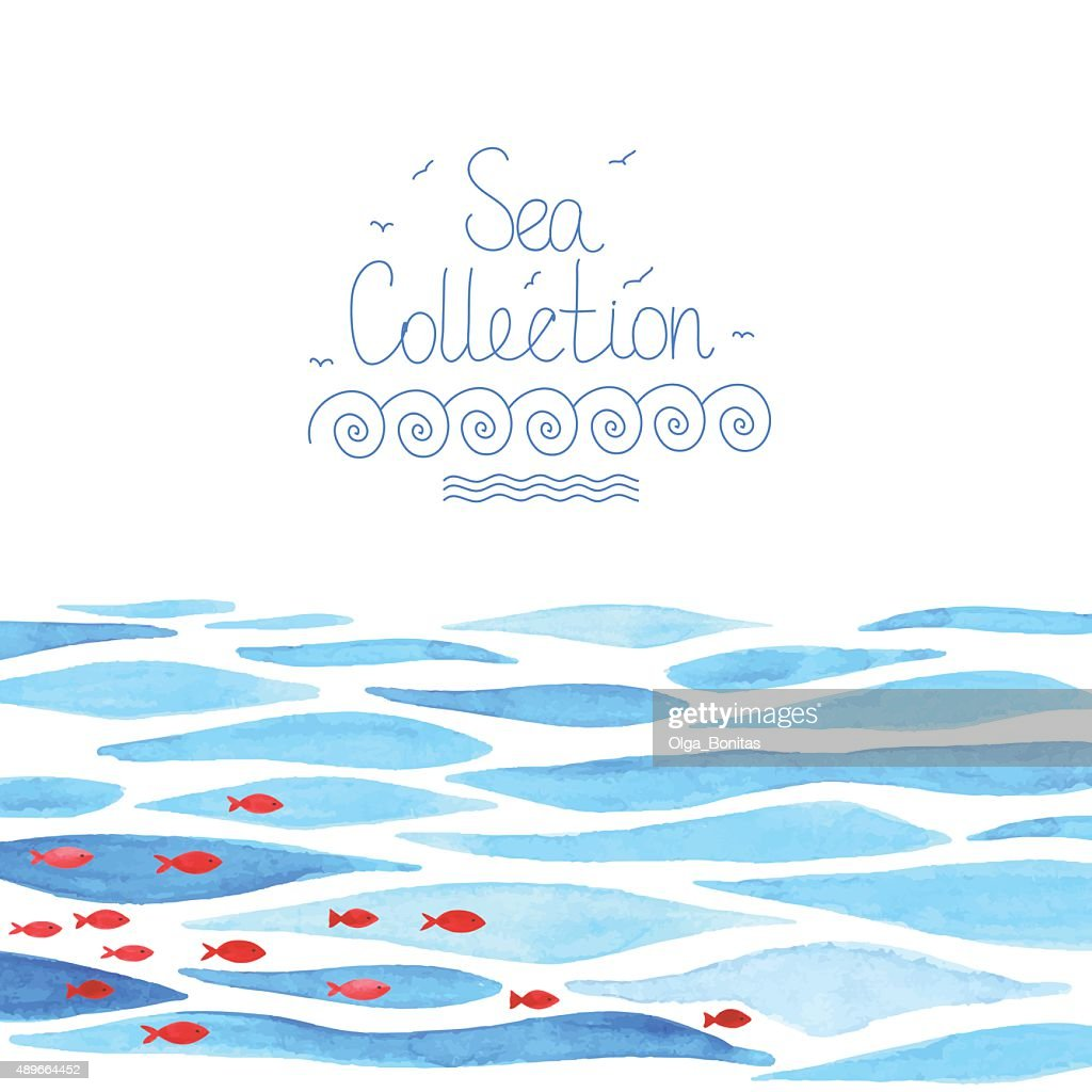 Watercolor sea background with red fish