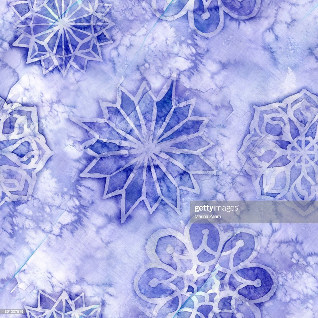 watercolor seamless background of lilac with white snowflakes for new year and christmas, oblong with snowflakes, it's snowing, for decoration and design on white background, for design of greeting