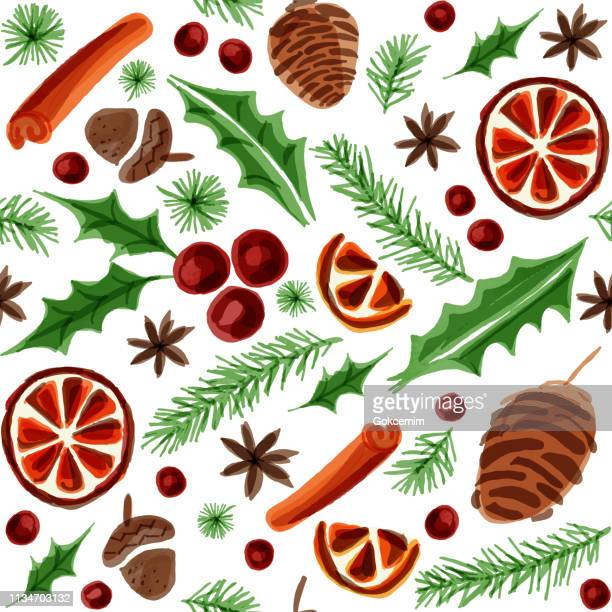 watercolor seamless background with winter elements. hot mulled wine ingredient christmas pattern. dried orange, cinnamon, star anise, acorn, leaves and pine tree background. - mulled wine stock illustrations, clip art, cartoons, & icons