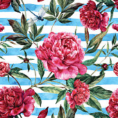 Watercolor seamless pattern of pink peonies and green leaves.
