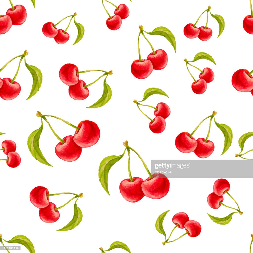 Watercolor seamless pattern with cherries.