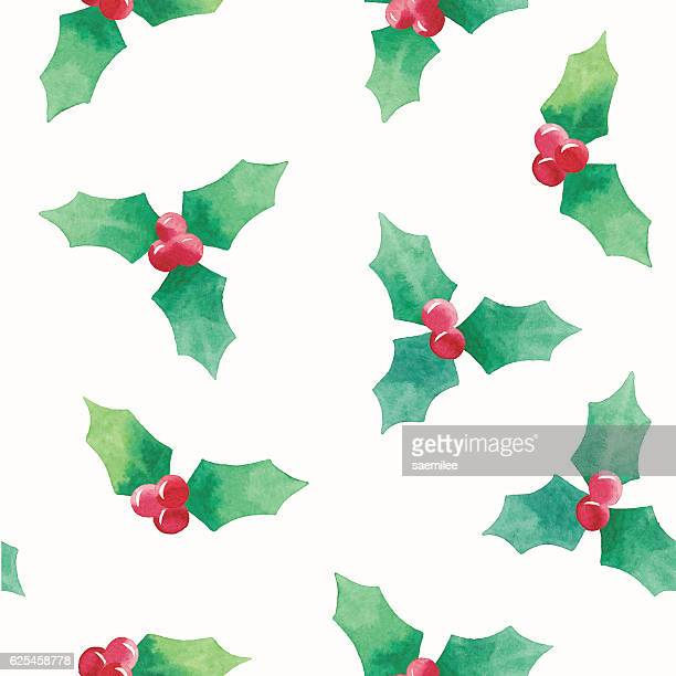 watercolor seamless pattern with christmas holly - holly stock illustrations