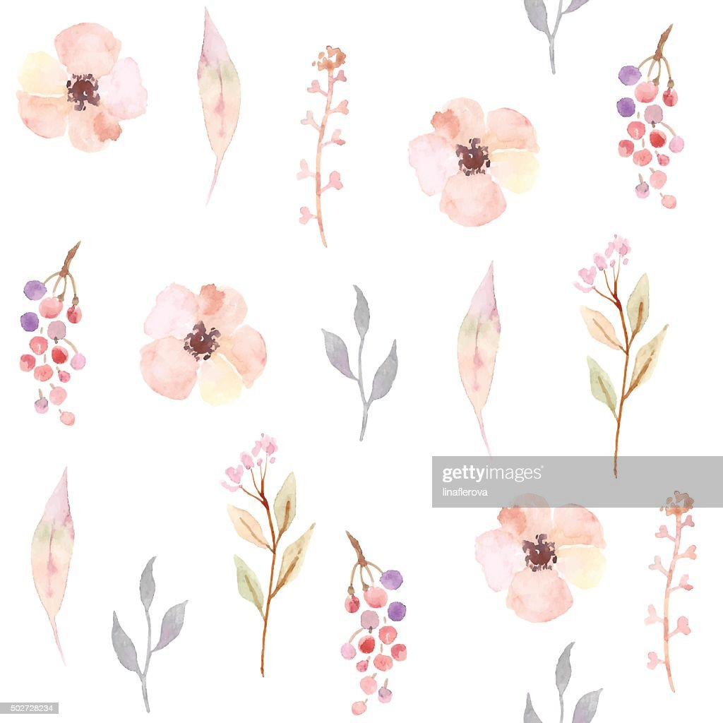 Watercolor seamless pattern with flowers. Floral background design.