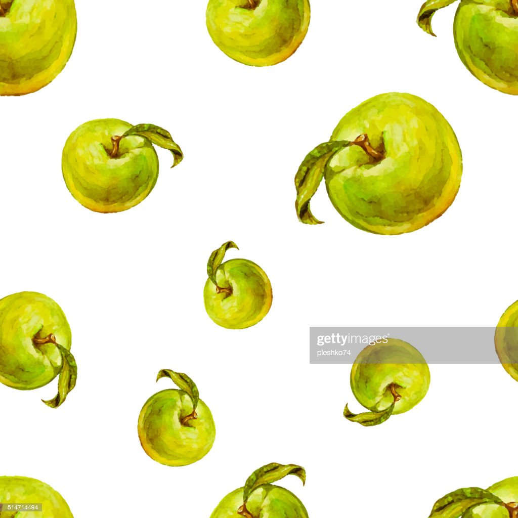 Watercolor seamless pattern with green apples.
