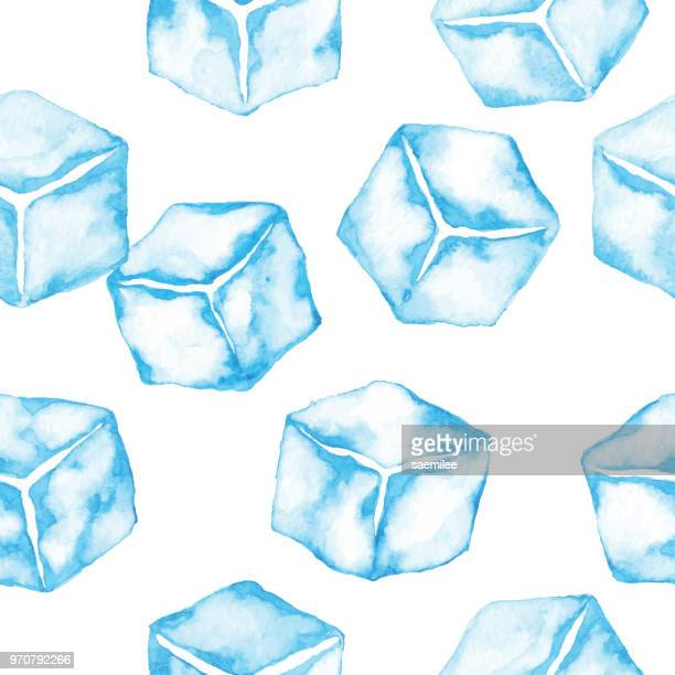 watercolor seamless pattern with ice cubes - ice cube stock illustrations