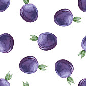 Watercolor seamless pattern with plums.