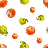Watercolor seamless pattern with red and green apples.