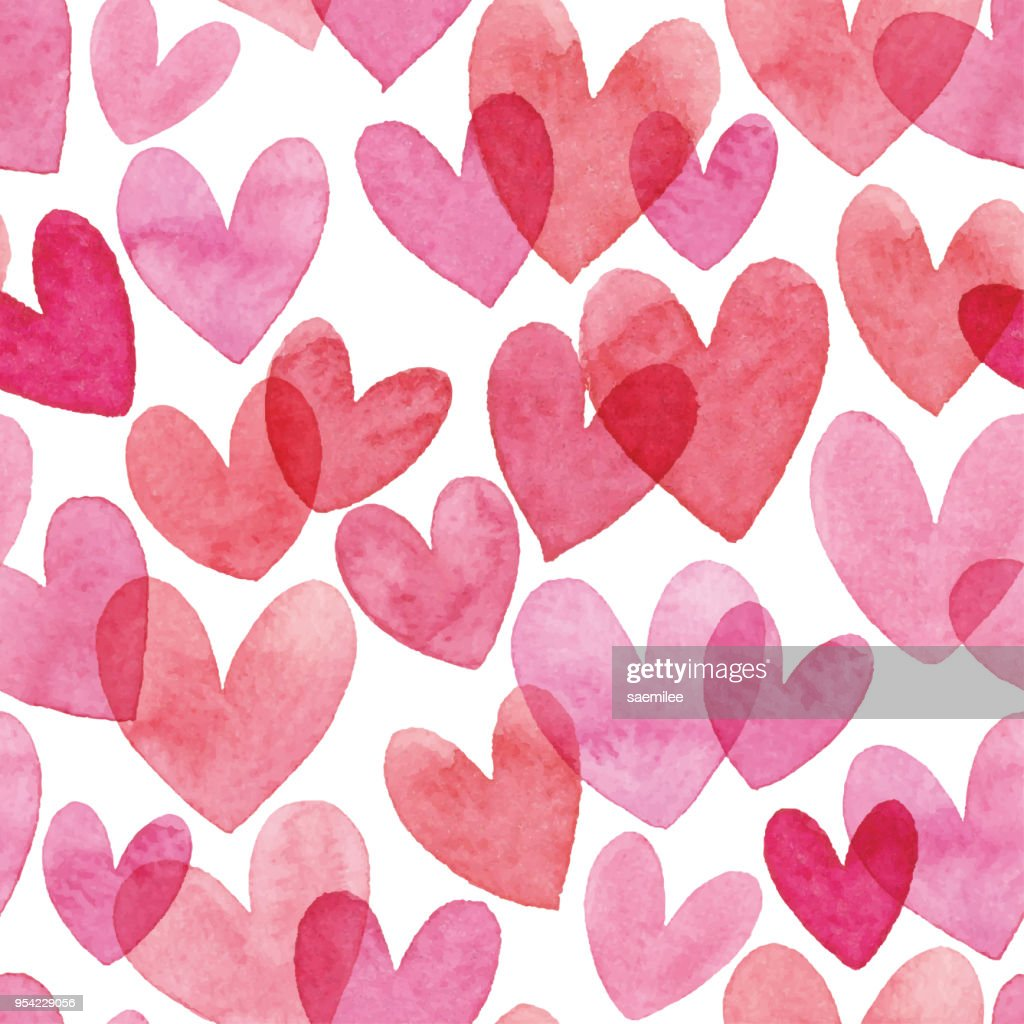 Watercolor Seamless Pattern With Red Hearts : stock illustration