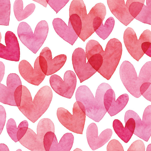 watercolor seamless pattern with red hearts - pink stock illustrations