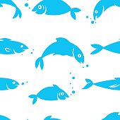 Watercolor seamless pattern with sea fish