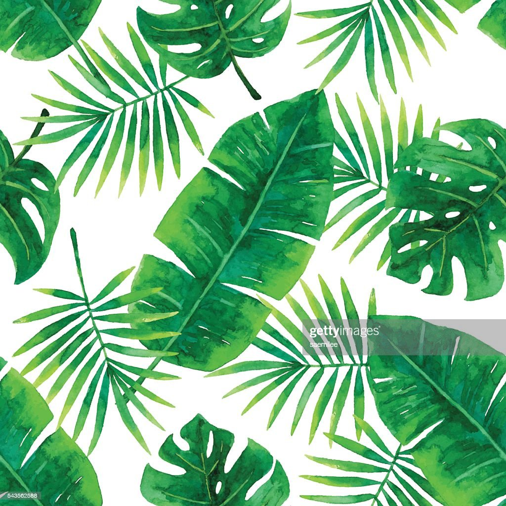 watercolor seamless tropical pattern vector art