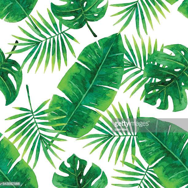 watercolor seamless tropical pattern - tropical bush stock illustrations