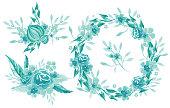 Watercolor set of handpainted floral arrangements